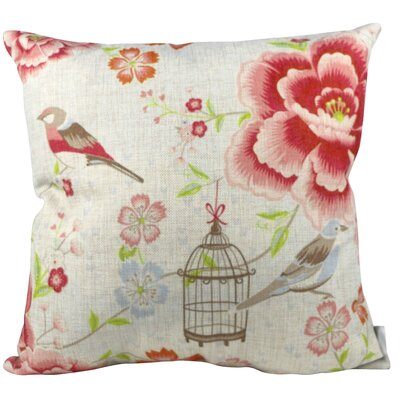 Flower Bird and Cage Throw Pillow