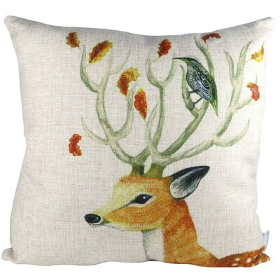 Nature Animal Deer and Bird  Throw Pillow
