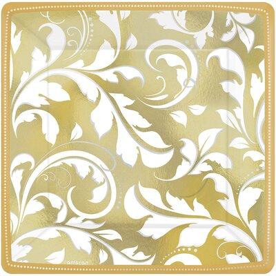 Elegant Scroll 50th Anniversary Paper Dinner Plate