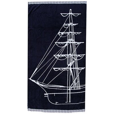 Velour Sail Boat Design Beach Towel