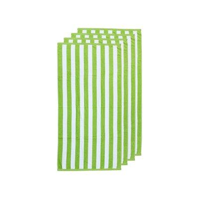 Cabana Stripe 4 Piece Beach Towel Color: Lime Green/White