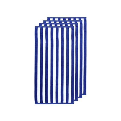 Cabana Stripe 4 Piece Beach Towel Color: Navy/White