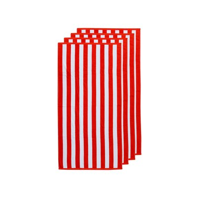 Cabana Stripe 4 Piece Beach Towel Color: Red/White