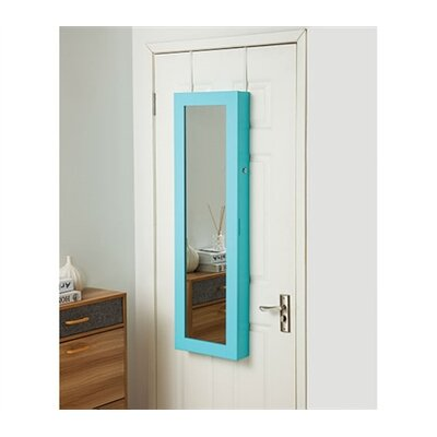 Ahern Over The Door Jewelry Armoire with Mirror Color: Aqua