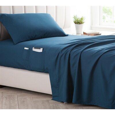 Browner Bedside Pocket Sheet Set Size: Twin, Color: Navy