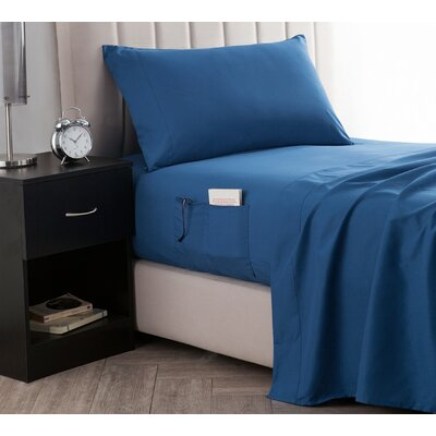 Browner Bedside Pocket Sheet Set Size: Twin, Color: Pacific Blue