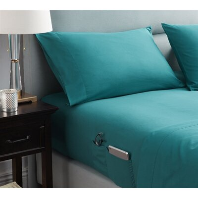Browner Bedside Pocket Sheet Set Size: Twin, Color: Ocean Depths Teal