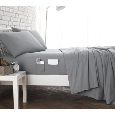 Browner Bedside Pocket Sheet Set Size: King, Color: Gray