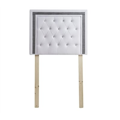 Ikin Twin Upholstered Panel Headboard Color: White/Black Crystal