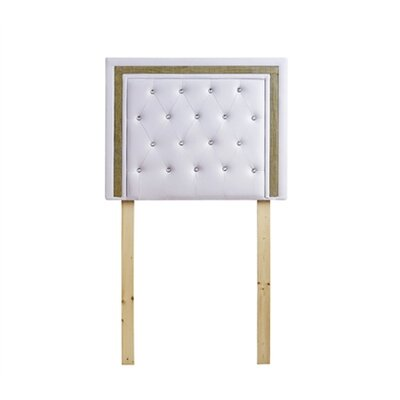Ikin Twin Upholstered Panel Headboard Color: White/Gold Crystal