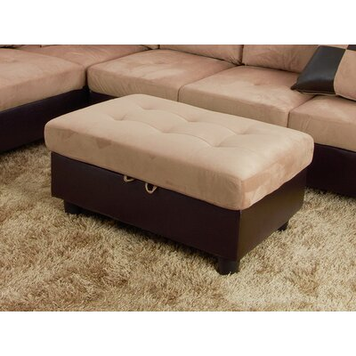 Storage Ottoman Upholstery: Beige Microfiber