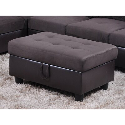 Storage Ottoman Upholstery: Espresso Microfiber