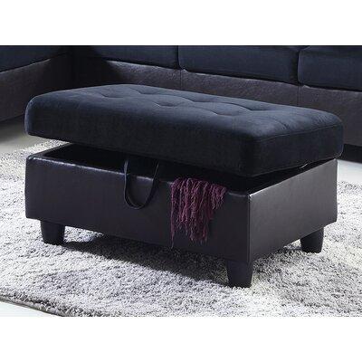 Storage Ottoman Upholstery: Midnight Blue Microfiber
