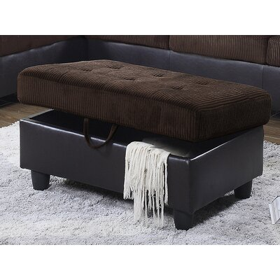 Storage Ottoman Upholstery: Red Microfiber