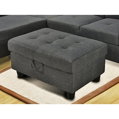 Storage Ottoman Upholstery: Gray Microfiber