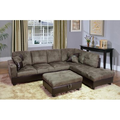 Russ Sectional with Ottoman Upholstery: Walnut, Orientation: Right Hand Facing