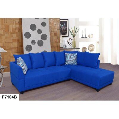 Sectional Upholstery: Lint Azure, Orientation: Right Hand Facing