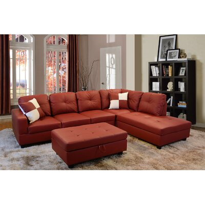 Sectional with Ottoman Upholstery: Red, Orientation: Right Hand Facing