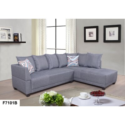 Sectional Upholstery: Linen Gray, Orientation: Right Hand Facing