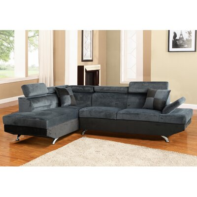 Sectional Upholstery: Dark Gray/Black, Orientation: Left Hand Facing