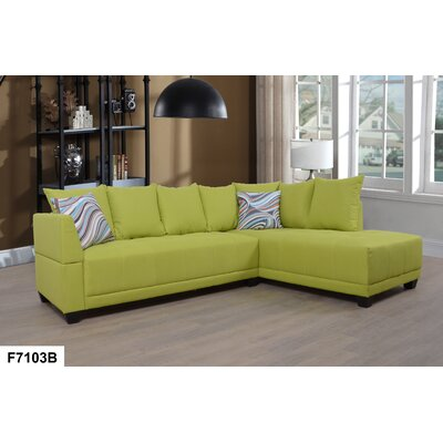 Sectional Upholstery: Chartreuse, Orientation: Right Hand Facing