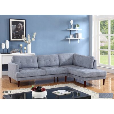 Sectional Upholstery: Flint Light Gray, Orientation: Right Hand Facing