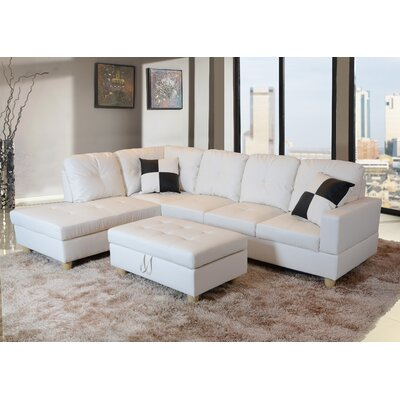 Russ Sectional with Ottoman Upholstery: White, Orientation: Left Hand Facing