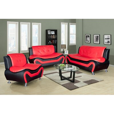 Living Room Set 3 Piece Living Room Set Upholstery: Black/Red