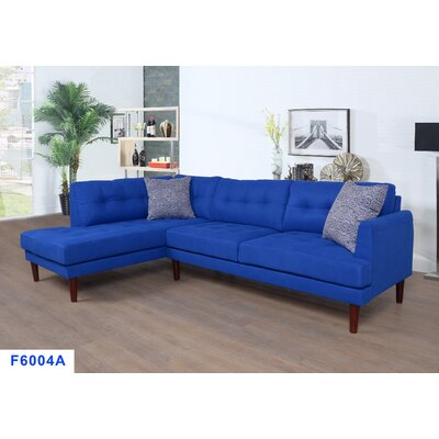 Sectional Upholstery: Azure Blue, Orientation: Left Hand Facing