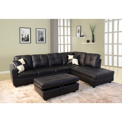 Sectional with Ottoman Upholstery: Black, Orientation: Right Hand Facing