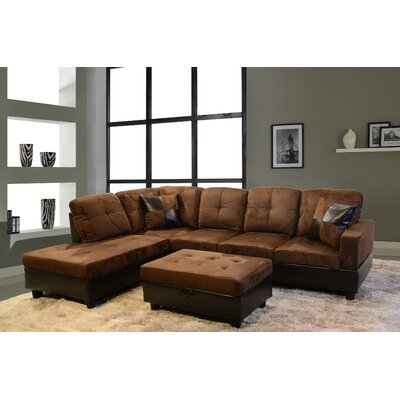 Sectional Orientation: Left Hand Facing, Upholstery: Dark Brown