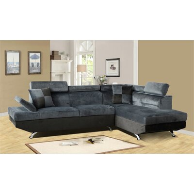 Sectional Upholstery: Dark Gray/Black, Orientation: Right Hand Facing