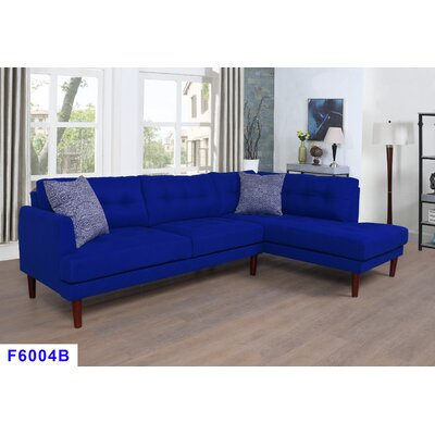 Sectional Upholstery: Azure Blue, Orientation: Right Hand Facing
