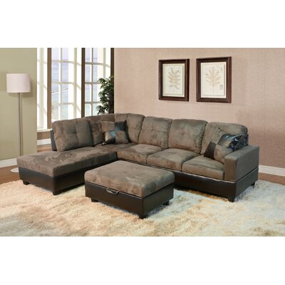 Sectional Orientation: Left Hand Facing, Upholstery: Light Brown