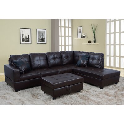 Sectional with Ottoman Upholstery: Dark Chocolate, Orientation: Right Hand Facing