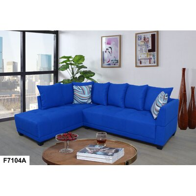 Sectional Upholstery: Lint Azure, Orientation: Left Hand Facing