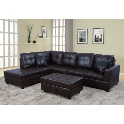 Sectional with Ottoman Upholstery: Dark Chocolate, Orientation: Left Hand Facing
