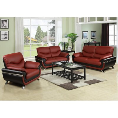 3 Piece Sofa Set Upholstery: Red