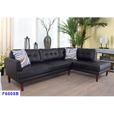 Cerys Sectional Orientation: Right Facing, Upholstery: Black