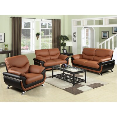 3 Piece Sofa Set Upholstery: Chestnut