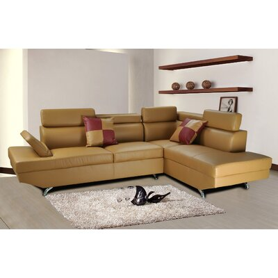 Sectional Upholstery: Butterscotch, Orientation: Right Hand Facing