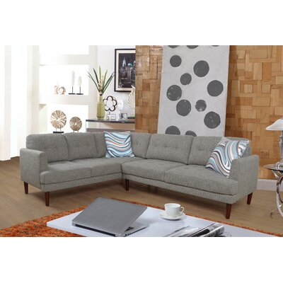 Qui Modern Sectional Orientation: Right Hand Facing, Upholstery: Stone Blue