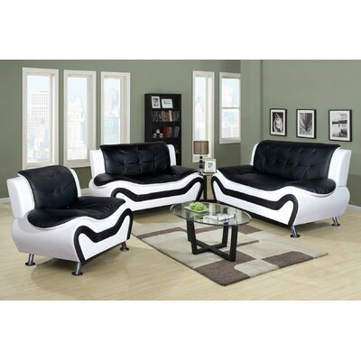 3 Piece Sofa Set Upholstery: Black/White