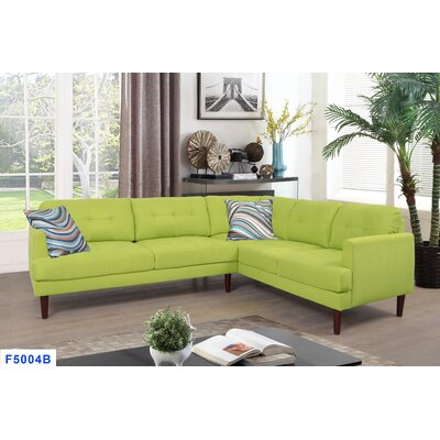 Mayville Sectional Upholstery: Light Green, Orientation: Right Hand Facing
