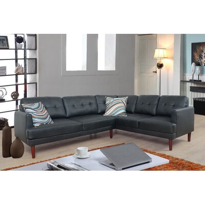 Dahlke Sectional Upholstery: Black, Orientation: Right Hand Facing