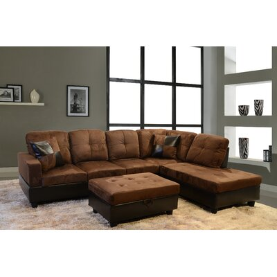 Sectional with Storage Ottoman Orientation: Right Hand Facing, Upholstery: Dark Brown