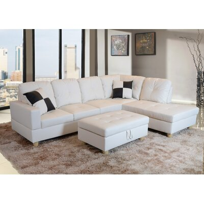 Sectional with Ottoman Upholstery: White, Orientation: Right Hand Facing