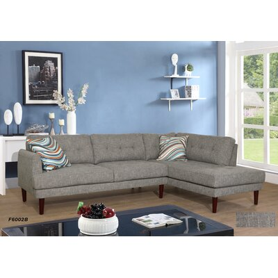 Sectional Upholstery: Gray/Black, Orientation: Right Hand Facing