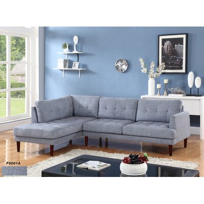 Sectional Upholstery: Flint Light Gray, Orientation: Left Hand Facing