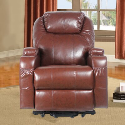 Power Heated Vibrating Massage Recliner 3 Position Lift Chair Finish: Brown